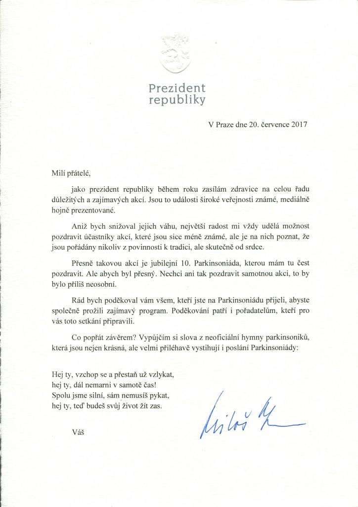 Dopis od Presidenta republika